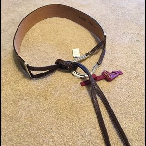 Brighton Sz L Adjustable Belt, NWT, Brown LTR.